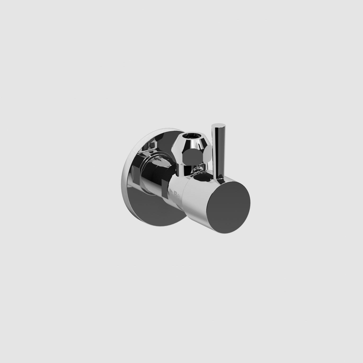InBe design hoekstopkraan type 1, rond, chroom)