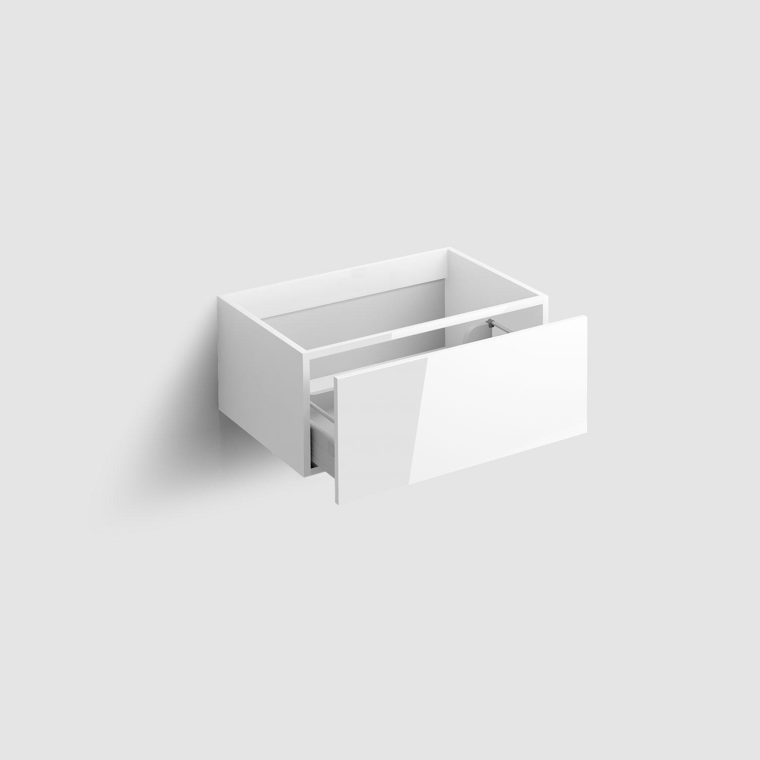 Hammock ladekast 70cm met push-to-open lade, wit hoogglans)