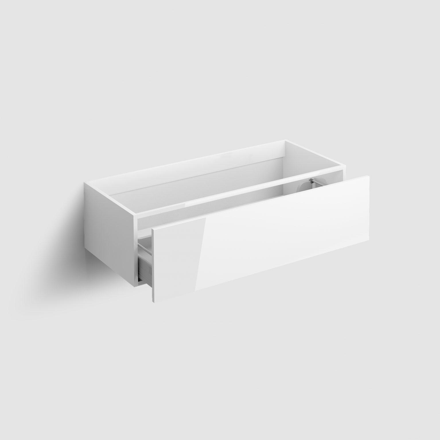 Hammock ladekast 110cm met push-to-open lade, wit hoogglans)