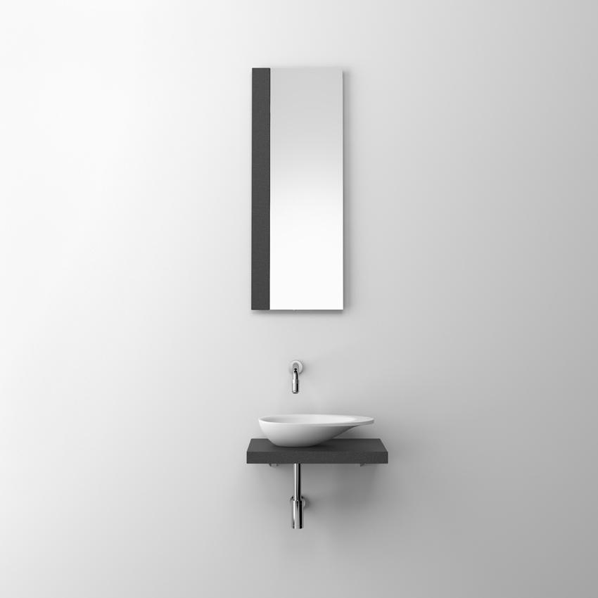 First spiegel met strip van gezoet basalt t.b.v. fontein)