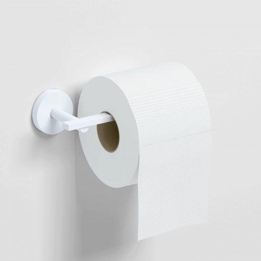 Flat Toiletrolhouder, L-vorm,  zonder klep, mat wit)