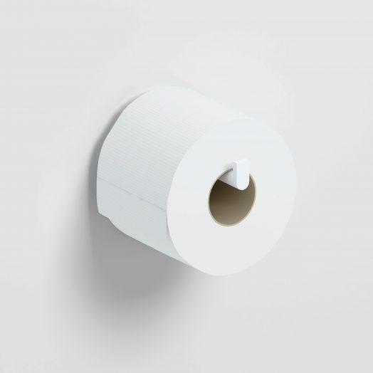 Flat Toiletrolhouder, recht,  zonder klep, mat wit)