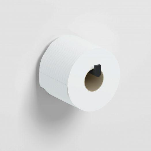 Flat Toiletrolhouder, recht, zonder klep, mat zwart)