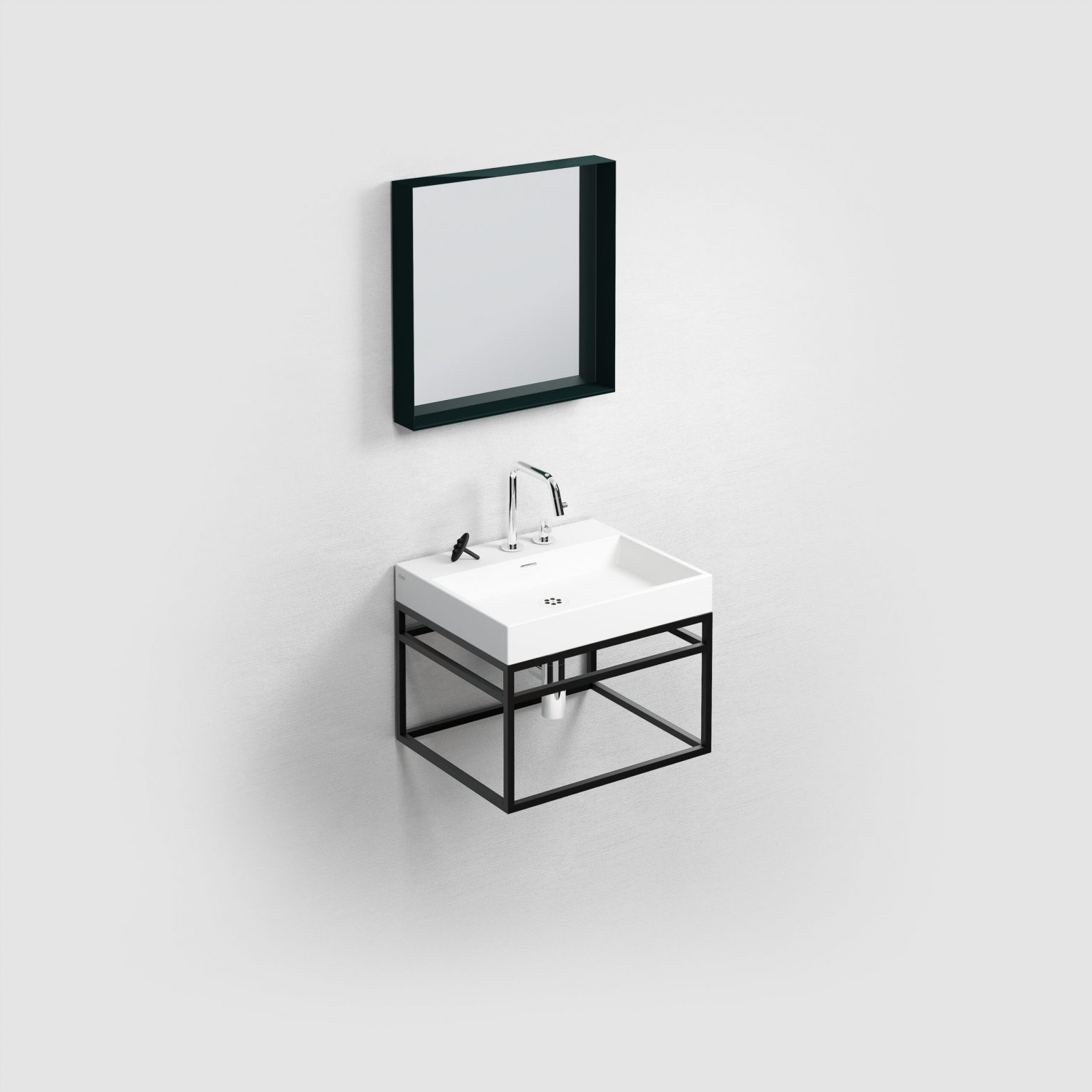 (New) Wash Me Frame rvs kokerprof. 50 cm mat zwart poederlak)