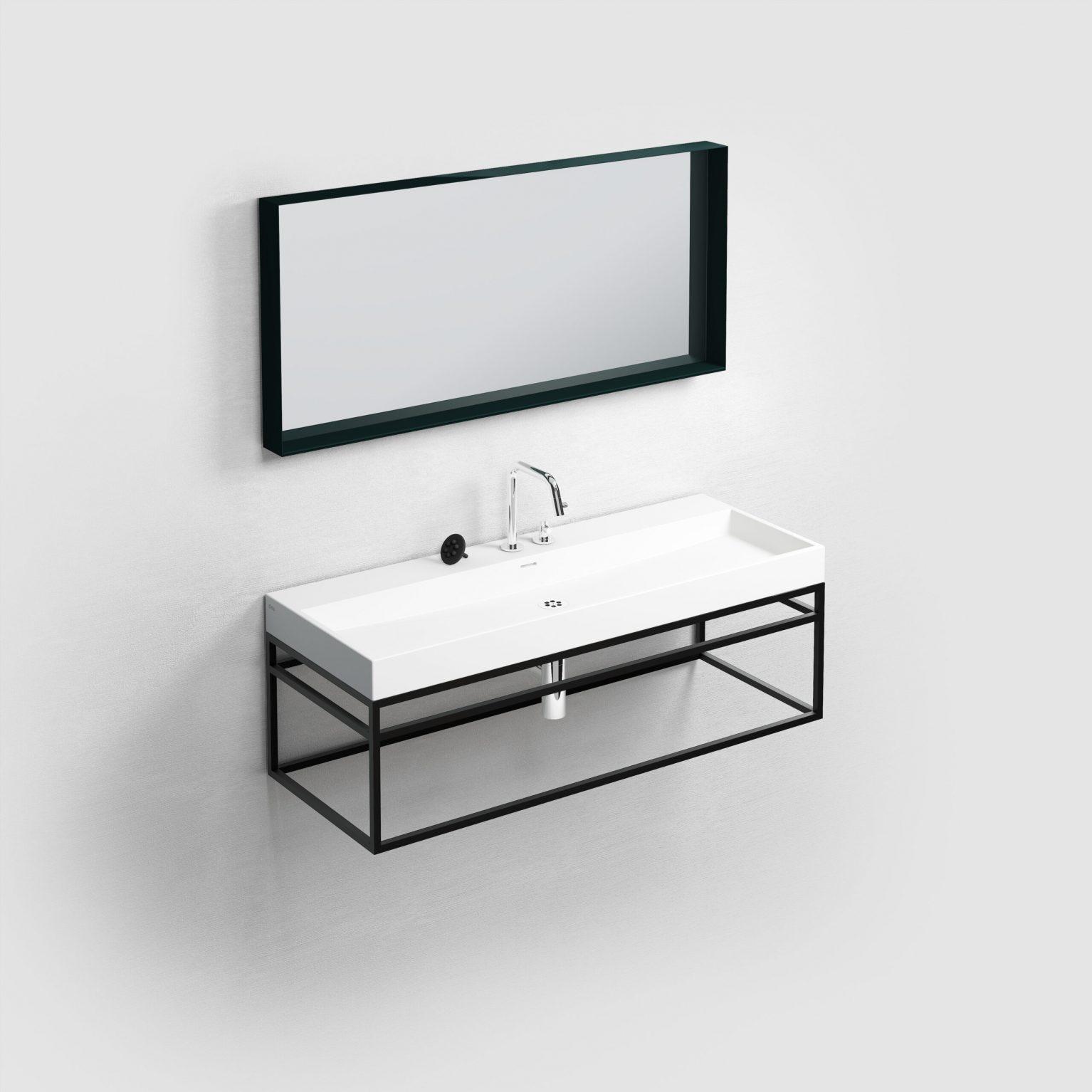 (New) Wash Me Frame rvs kokerprof. 110 cm, mat zw. poederlak)
