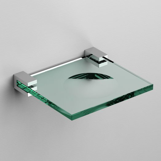 Quadria zeepschaal, chroom en helder glas)