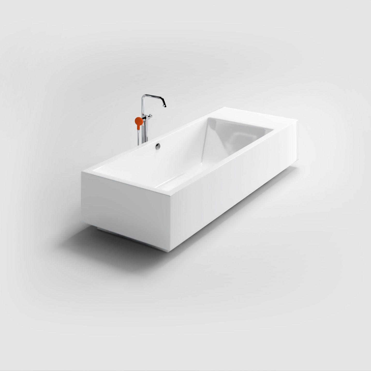 Wash Me vrijstaand ligbad, met stop/go plug, wit acryl)